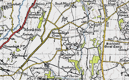 Old map of South Wood Fm in 1946