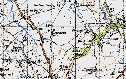 Old map of Wootton Meadows in 1947