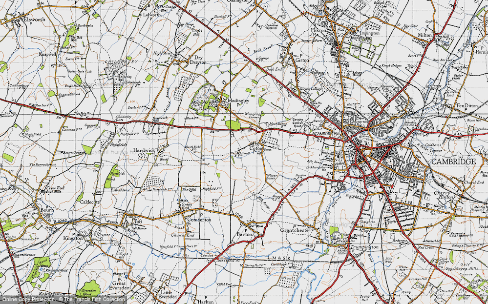 Old Map of Coton, 1946 in 1946