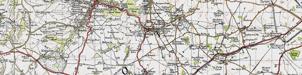 Old map of Cotswold Hills in 1946