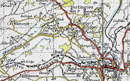 Old map of Yarner Beacon in 1946