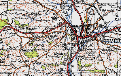 Old map of Whitcombe in 1946