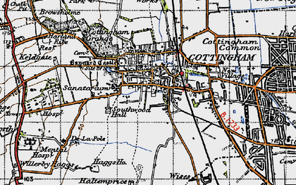 Old map of Cottingham in 1947