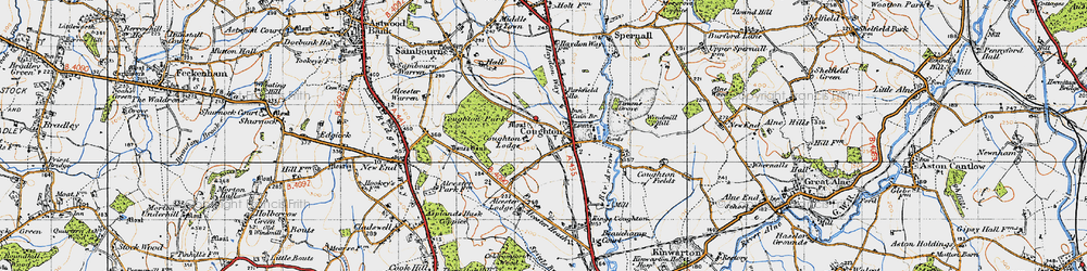 Old map of Alcester Lodge in 1947