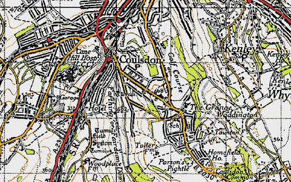 Old map of Coulsdon in 1945