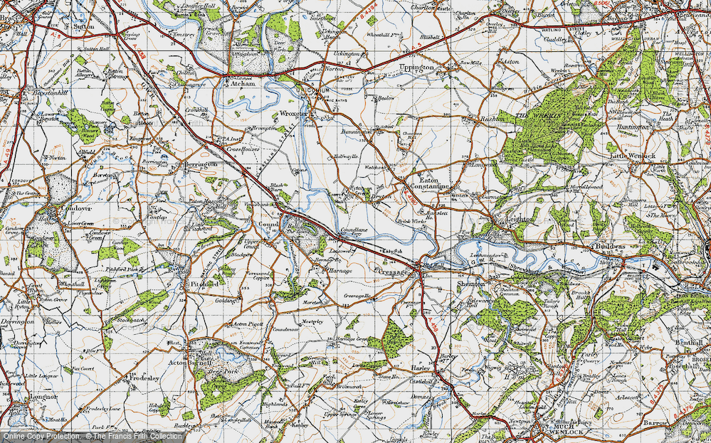 Old Map of Historic Map covering Leasowes in 1947