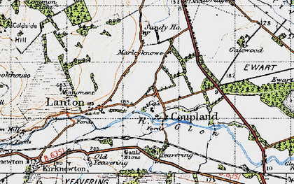 Old map of Yeavering in 1947