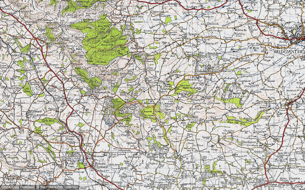 Old Map of Historic Map covering Timbercombe in 1946