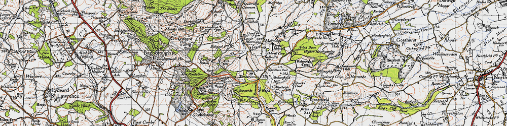 Old map of Timbercombe in 1946