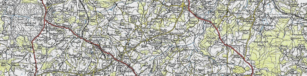Old map of Cousley Wood in 1940