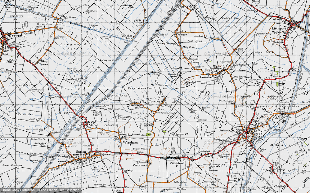 Old Map of Historic Map covering Ashwell Moor in 1946