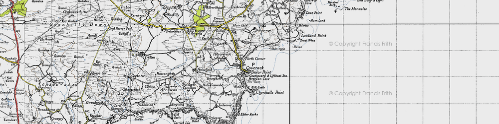 Old map of Coverack in 1946