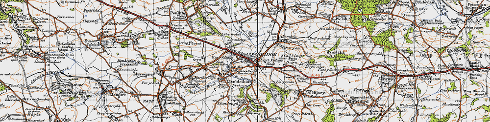 Old map of Cowbridge in 1947