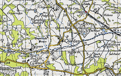 Old map of Cowden in 1946