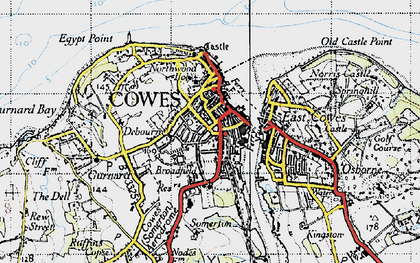 Old map of Cowes in 1945