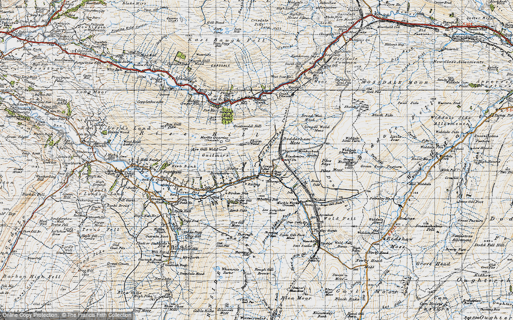 Old Map of Historic Map covering Aye Gill Wold in 1947