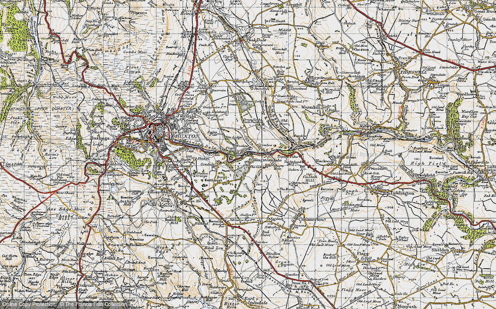 Old Map of Historic Map covering Back Dale in 1947