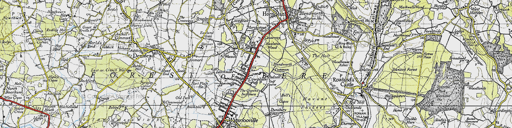 Old map of Cowplain in 1945