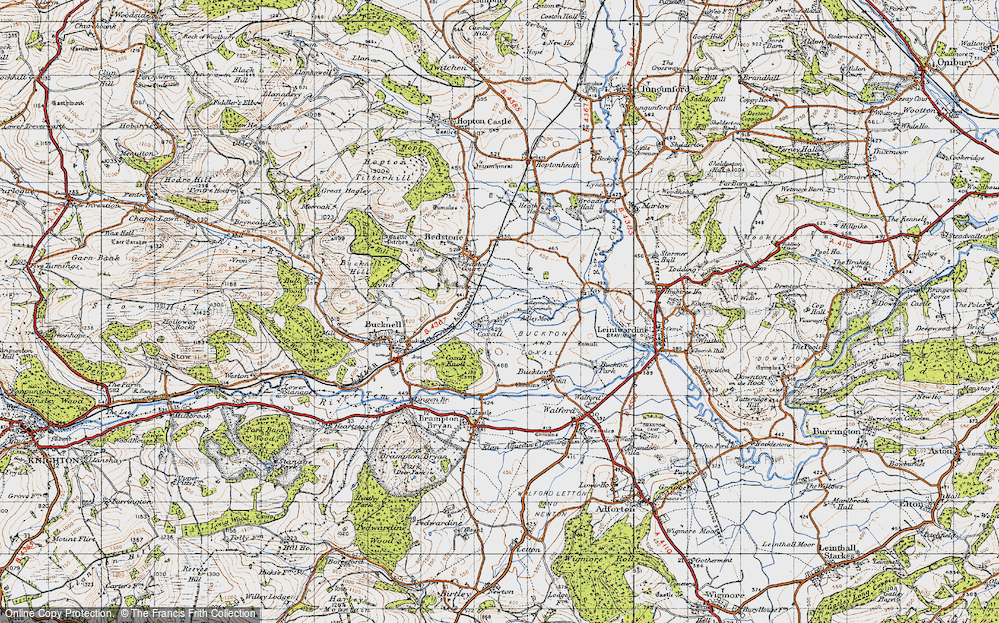 Old Map of Historic Map covering Adley Moor in 1947