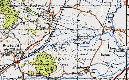 Old map of Adley Moor in 1947