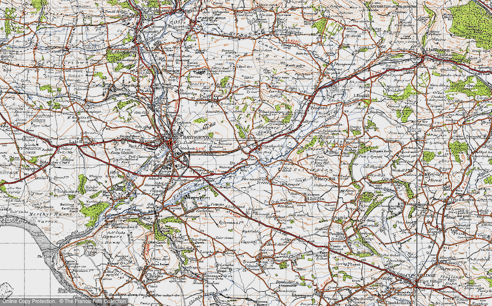 Old Map of Coychurch, 1947 in 1947