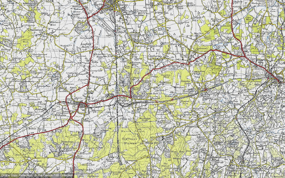 Old Map of Historic Map covering Ley House in 1940