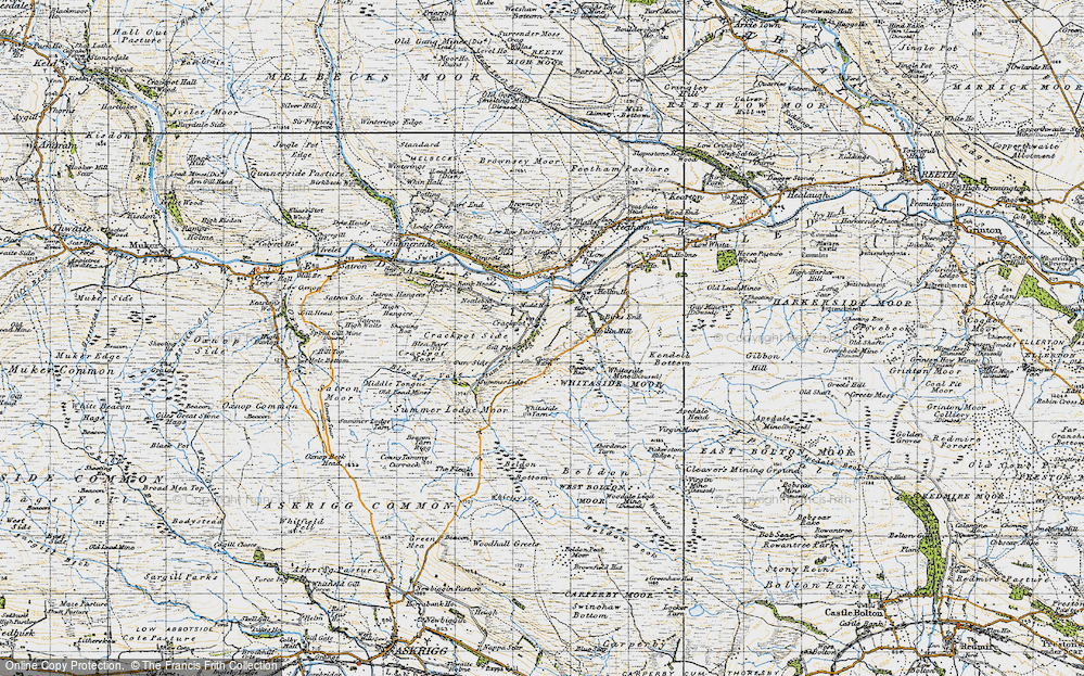Old Map of Historic Map covering Aberdene Tarn in 1947