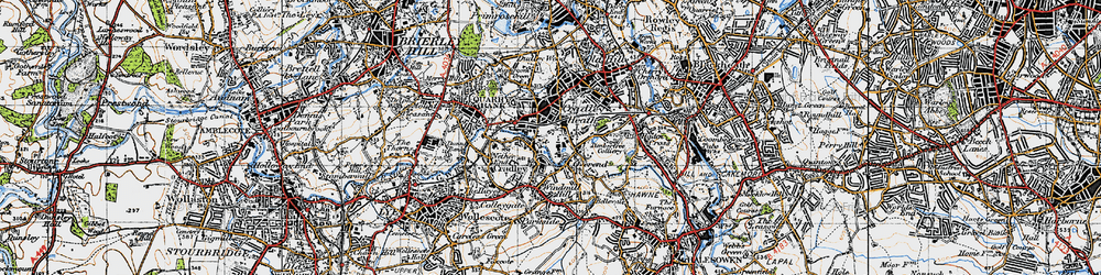 Old map of Cradley Heath in 1947