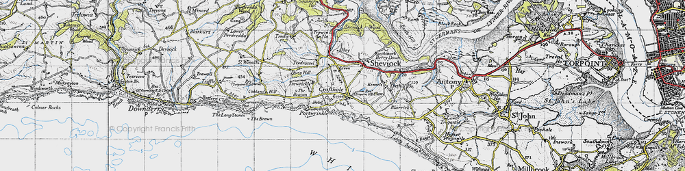 Old map of Crafthole in 1946