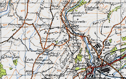Old map of Craig-cefn-parc in 1947