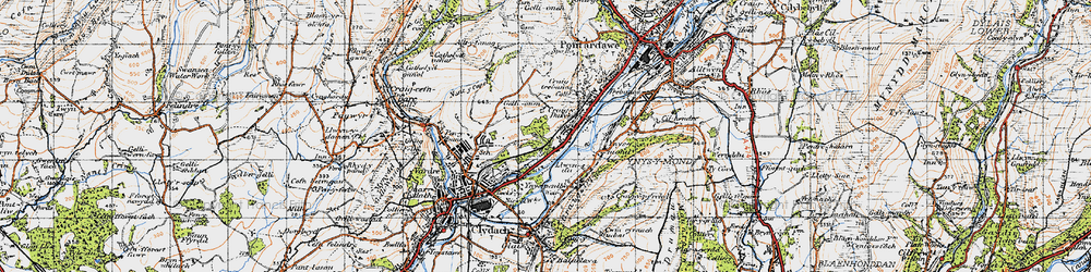 Old map of Ynys-y-mond in 1947