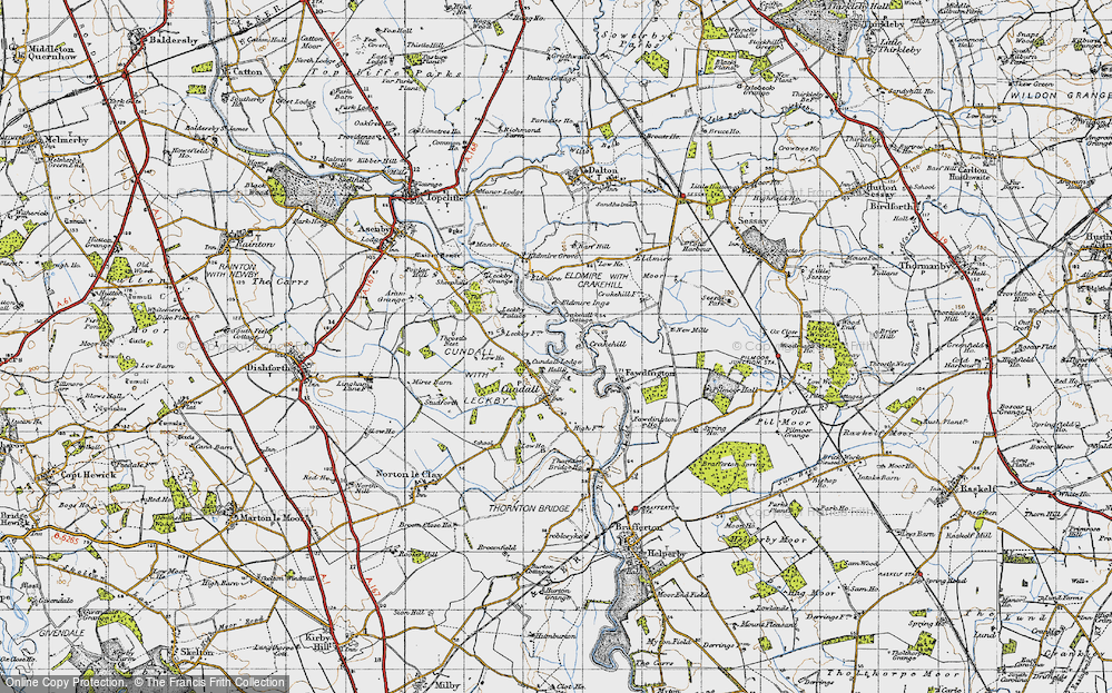 Old Map of Historic Map covering Leckby Grange in 1947