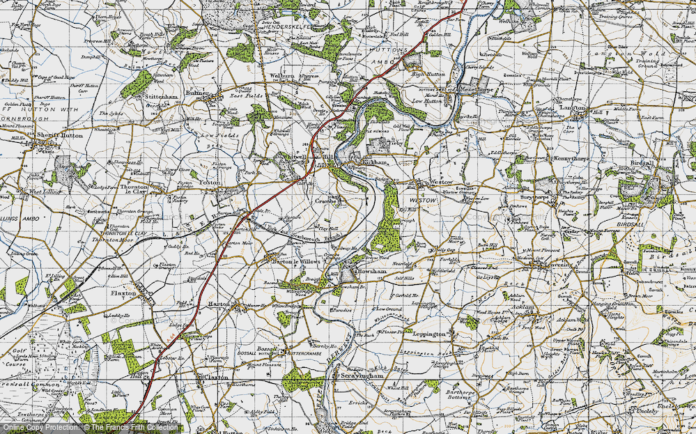 Old Map of Crambe, 1947 in 1947