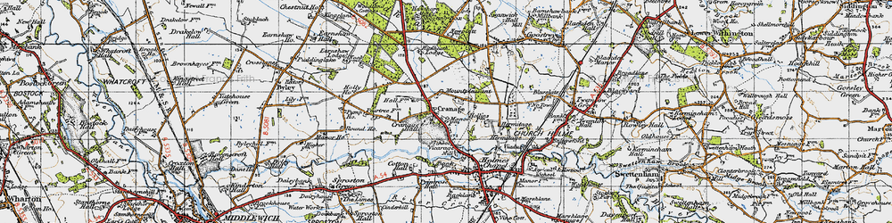 Old map of Cranage in 1947