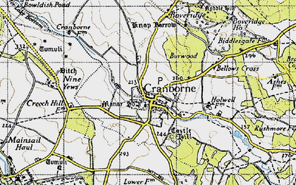 Old map of Cranborne in 1940