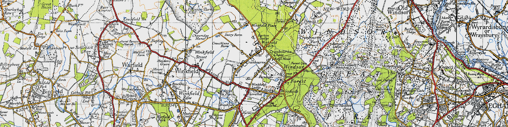 Old map of Winkfield Lodge in 1940