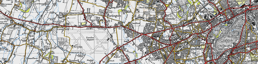 Old map of Cranford in 1945