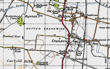 Old map of Cranswick in 1947