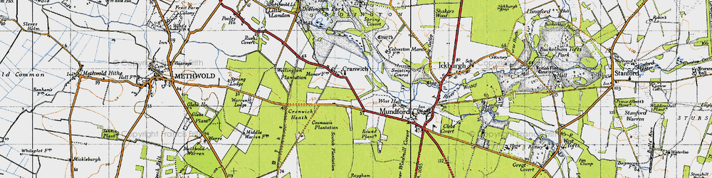 Old map of Cranwich in 1946