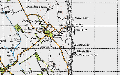 Old map of Craster in 1947