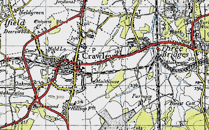 Old map of Crawley in 1940