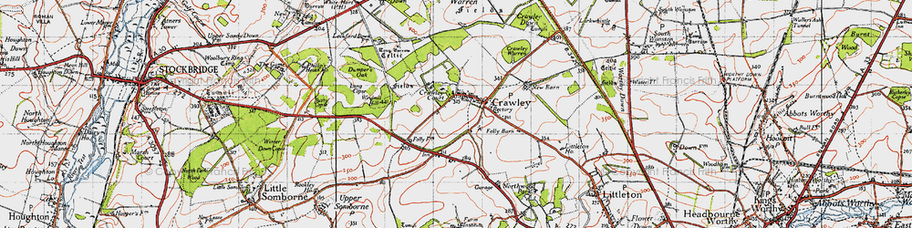 Old map of Windmill Hill in 1945
