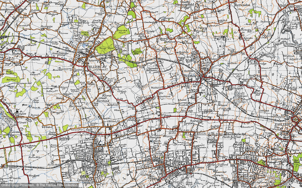 Old Map of Crays Hill, 1945 in 1945
