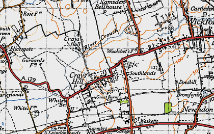 Old map of Crays Hill in 1945