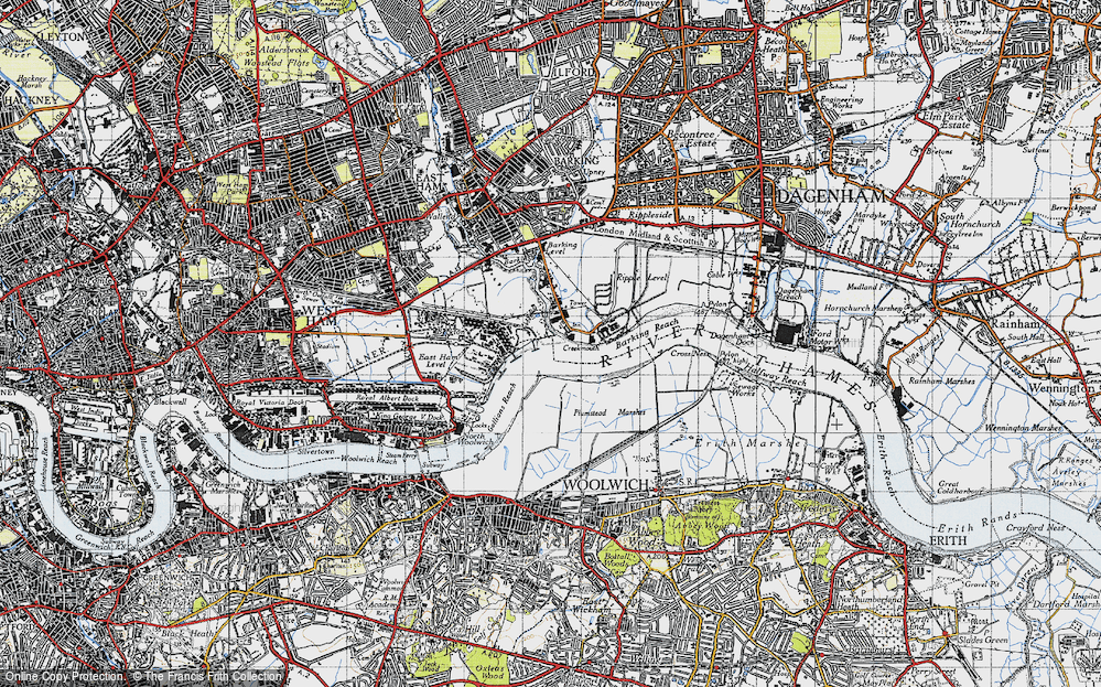 Old Map of Historic Map covering Barking Creek in 1946