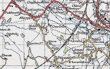 Old map of Cress Green in 1946