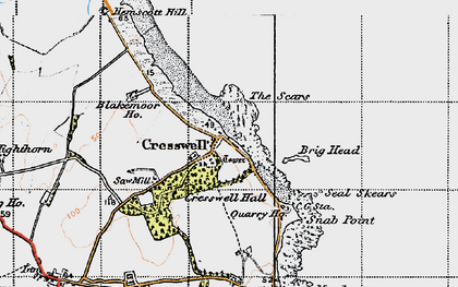 Old map of Cresswell in 1947