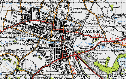 Old map of Crewe in 1947