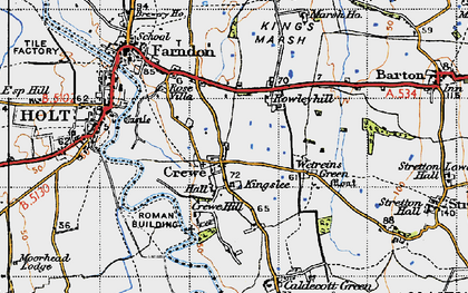 Old map of Wetreins Green in 1947