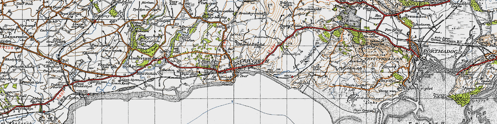 Old map of Criccieth in 1947